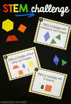 Looking for an engaging batch of STEM challenges to add to your centers or STEM boxes?!These pattern blockSTEM challengesare an easy way to work on problem solving, geometry, math vocabulary... even beginning fractions! Perfect for STEM centers or morning work with preschool, kindergarten and first grade kids!  #STEMcenters #STEAMkids #playdoughtoplato