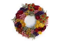 "15"" Floral Summer Wreath on OneKingsLane.com Bold colors and textures combine on this arrangement, thanks to the variety of dried florals used to construct it.  Made of: strawflowers/sage/larkspur/globe amaranth/safflower/German statice.  To preserve color, keep away from moisture and heat."