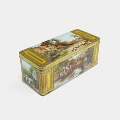 Large Vintage Biscuit Tin - Huntley & Palmers gold yellow antique painting Reading England Made in England British