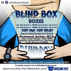 #Repost @blindboxpodcast with @repostapp  Well it is here Blind Box Blind Boxes Sponsored by @tenacioustoys !! Join us as we celebrate the growth of both The Blind Box and The Blind Box Network!!These very special custom boxes will be available August 1st ONLY @ BlindBoxPodcast.com!!! No two boxes are the same!! You have two options: Small box ($25 plus s&h) or Large box ($50  s&h)!! Included in these boxes are one of a kind art and retail items. This first lineup is KILLER! If you know me…