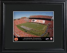 College Stadium Print with Wood Frame - Auburn. Proclaim him/her the star of the show with our personalized College Stadium print. Each print features the image of a beloved college sports venue, with the crowds in the stands paying clever homage to your favorite sports fan via a personalized message. The text at the bottom also includes the name of the recipient and proclaims an official day in his or her honor. Framed in black, it's a handsome addition to any wall. Makes an ideal gift…