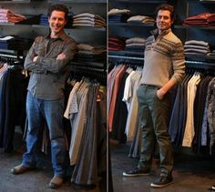 One man, in search of lost mojo: Ethan Gilsdorf in his own clothes (left) at Uniform and wearing an outfit picked out for him (right).