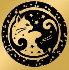 Starry Yin-yang Kitties by ~moonelfpersephone on deviantART