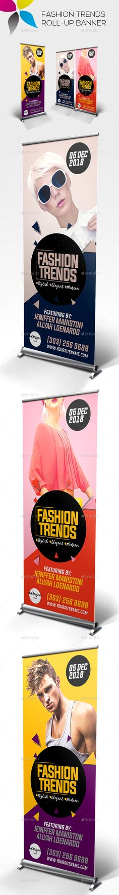 Fashion Trends Roll-up Banner Design Template - Signage Ads Banner Print Template PSD. Download here: https://graphicriver.net/item/fashion-trends-rollup-banner/19317552?ref=yinkira