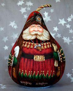 Decorative Gourds, Hand Painted Gourds, Christmas Snowman, Christmas Crafts, Father Christmas, Christmas Ideas, Santa Paintings, Gourds Birdhouse, Gourd Art