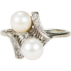 Elegant Art Deco Bypass Pearl Diamond Ring 10k Gold Cultured Pearl Ring