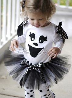 How cute is this? Perfect for Halloween. Not too scary Ghost!    This set is for the shirt and tutu & Hairbow. Shirts styles may vary based on