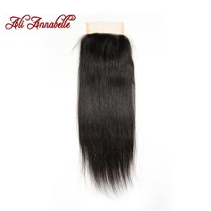 Annabelle Hair Brazilian lace closure 4*4 Brazilian virgin hair closure Straight middle part free part 2 options 10 to 24 inch