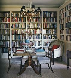 Library/Dining Room -- been TRYING to talk my husband into this. Love idea!
