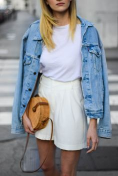 zara round straw bag and perfect white shorts; katiquette