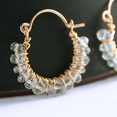 Handmade blue topaz hoop earrings, 14k gold filled, horseshoe style, wire wrapped, beaded earrings, Mimi Michele Jewelry
