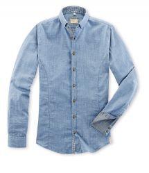 Q1 Hemd MAIK in Doppelgewebe Chambray/Denim-Optik  und Mikro-Vichykaro in Blau/Weiß in 100% Baumwolle Denim Button Up, Button Up Shirts, Slim Fit, Chambray, Shirt Dress, Mens Tops, Shopping, Dresses, Fashion