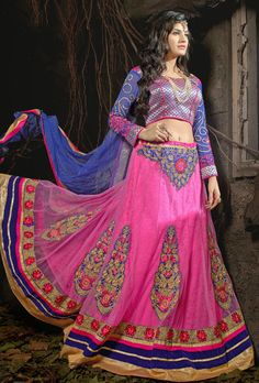 Magical #Pink Color Partywear Lehenga #Choli from http://www.indiandesignershop.com/product/magical-pink-color-partywear-lehenga-choli/
