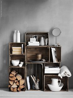 Knagglig by IKEA are basic pine boxes that can be used in tons of ways. Here are some creative ideas and hacks. Fjällbo Ikea, Ikea Hack, Bookshelf Design, Bookshelves, Bookshelf Ideas, Crate Bookshelf, Bookshelf Styling, Home Interior, Decor Interior Design
