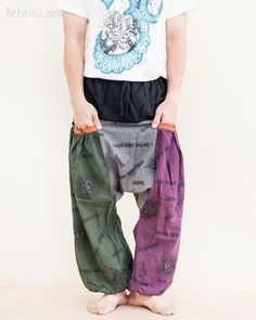 Comfy Om Design Drop Crotch Trousers Patchwork Baggy Harem Pants (BG-OM21) Fashion Pants, Men's Fashion, Funky Pants, Harem Pants, Trousers, Hippie Pants, Pants Style, Patchwork Designs, Drop Crotch