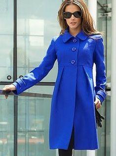 I love this coat. Empire line wool coat - beautiful cobalt blue!
