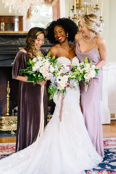 """From the editorial """"This Is the Perfect Blueprint for a Romantic Garden Wedding."""" These bridesmaids wore different colors AND fabrics and we couldn't be more obsessed! Head to SMP to read more about this dreamy Charleston photoshoot! Photography: @samanthajeanbecker #bridesmaids #bridesmaiddresses #purplebridesmaids #weddingbouquets Mismatched Bridesmaid Dresses, Bridesmaid Dress Styles, Brides And Bridesmaids, Garden Wedding, Dream Wedding, Wedding Bouquets, Wedding Dresses, Wedding Memorial, Wedding Photography"""