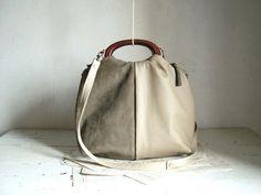 Khaki Grey Leather Suede Handbag with wooden Handles