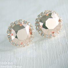 Rose gold Swarovski crystal earrings | Rose gold bridal earrings | #EndoraJewellery - Custom Swarovski crystal bridal, bridesmaid and flower girl jewelry