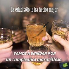 La edad sólo te ha hecho mejor. Vamos a brindar por un cumpleaños maravilloso. Happy Birthday Girls, Happy Birthday Wishes, Drunk Memes, Vodka Shots, Birthday Quotes, Bartender, Night Club, Vodka Bottle, Tableware