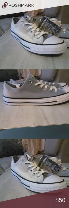Last Pair Last day in my closet. Gray Converse Low top Gray Chuck Taylor with white and black trim 8.5 men or 9.5 women. These are so versatile and just as clean and ready for spring and summer as the white Chuck Taylor just won't show light soil  like white Chuck Taylors. Converse Shoes Sneakers