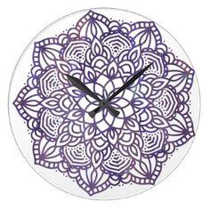 Ultraviolet Mandala Large Clock - watercolor gifts style unique ideas diy