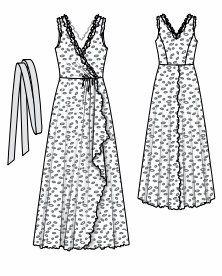 EL BAÚL DE LAS COSTURERAS: Vestido largo cruzado y múltiples faldas, en sedas