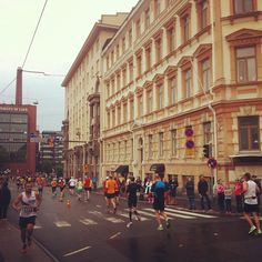 Helsinki City Marathon runners near my home.