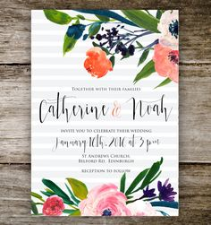 Modern Floral Watercolour Stripes Rustic Romantic Vintage Retro Painted Wedding Invitation Set | Save the Date | Bridal Shower | Party