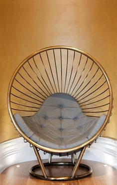 Metal Wire Bubble Chair in Brass Stove Enamelled Steel with Grey Leather Cushion designed by Ben Rousseau
