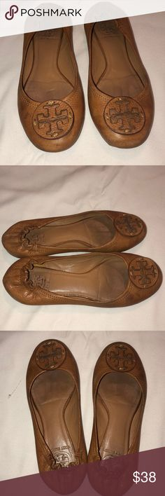 1446fd88cca7ff Tory Burch Flats Size but fit like 8 Camel color Show wear on the sole but  when wearing them they still look good With a little leather cleaner this  pair ...