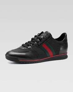 738bb459f31449 Leather Canvas Sneaker by Gucci at Neiman Marcus. Canvas Sneakers
