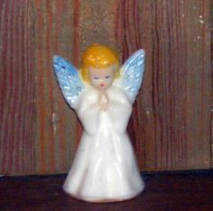 Vintage Gurley Christmas Candle ~ Angel w/ Blue Glitter Wings