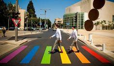 The temporary rainbow crosswalk in Tel Aviv - photo by Tel Aviv municipality, via haaretz