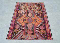 78''x 59'' turkish kilim rug, area rug, rug, vintage rug, bohemian rug, turkish…