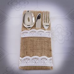 """Burlap and  lace silverware holders perfect for rustic wedding or home decor!  Your silverware nestles in these burlap pockets, adding just the right touch to your rustic table! Would also be a lovely accent for a woodland wedding or shower.  Set of 6 holders, each 4"""" x 8""""   Made of natural burlap, embellished with  lace.  If you need a quantity other than shown please convo me and I will set up a special listing for you for the quantity that you need!"""