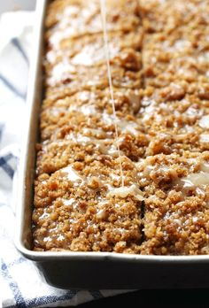 Cinnamon Streusel Pumpkin Coffee Cake with Maple Glaze - 10 minute prep!
