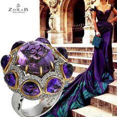 No jewelry collection is complete without the #glamour of amethyst!  #Zorab #jewelry #jotd #ring #amethyst #amethystring #gems #diamonds #palladium #fashionfriday #ootd #ootn #gown #purpledress #couture #style #instafashion #fashionista #instajewelry #luxury #luxurylife #beautiful #glamour #trendsetter #gorgeous