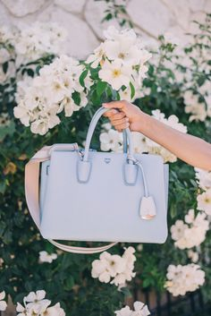Gal Meets Glam Healdsburg - My new MCM bag in Sky Blue, c/o