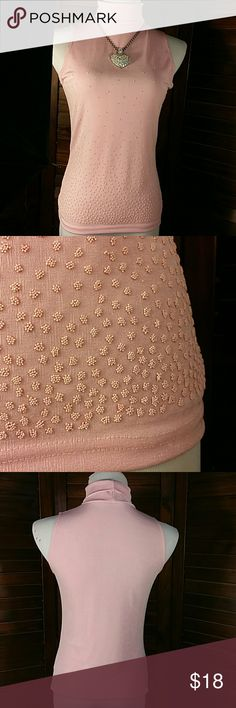 """🎯SALE!🎯Beaded Sleeveless Turtleneck Pretty in Pink blousr. Small seed beads adorn this stretchy figure flattering top. Tagged XL as shown in last photo, runs much smaller, please read measurements.  16 """" across chest lying flat, 24 """" long Decaf Tops Blouses"""