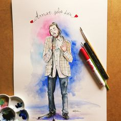 """""""Salvadorable"""" is a illustration of Salvador Sobral. He is going to represent Portugal  today at Eurovision Song Contest. A great artist with a voice of an angel. He will be singing """"Amar pelos dois"""" please please vote for him ❤️❤️Thank you!"""