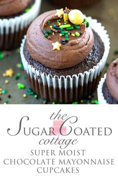 Super Moist Chocolate Mayonnaise Cupcakes - The Sugar Coated Cottage Moist Cupcakes, Baking Cupcakes, Fun Cupcakes, Cupcake Recipes, Cookie Recipes, Cupcake Cakes, Dessert Recipes, Buttercream Recipe, Chocolate Buttercream