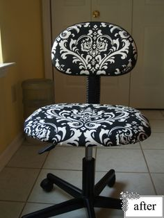 This was a quick and dirty makeover that I did in about 2 hours while watching An American Haunting (which was rubbish by the way). I bought the Rickard Office Chair from IKEA in Atlanta a few yea - Office Chair - Ideas of Office chair Office Chair Makeover, Furniture Makeover, Office Decor, Diy Furniture, Home Decor Fabric, Home Projects, Upholstery, Room Decor, American Haunting
