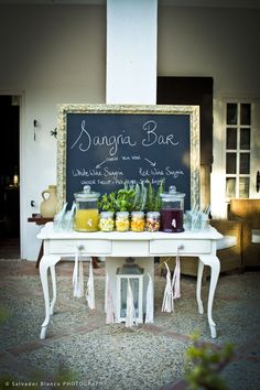 Sangria bar for wedding in Spain by Rachel Rose Weddings - www.MadamPaloozaEmporium.com www.facebook.com/MadamPalooza