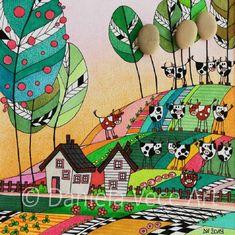 Daniela Vece Art - Mucche al Pascolo - Cows grazing - Disegno - Drawing