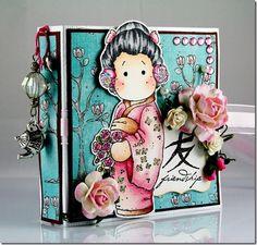 Claudia Rosa Tea bag holder, Japanese Tilda, Bon Voyage Collection, Magnolia stamps