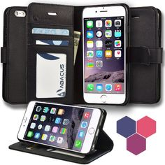 iPhone 6S Case, Abacus24-7 iPhone 6S Wallet Case, Leather Flip Cover with Card Holder and Kickstand - Black Flip Case for Apple iPhone 6S Phone #tech #abacus See detail at http://zingxoom.com/d/cwHHJ8lR