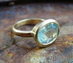 Ring  14k Gold & Aquamarine Gemstone Ring by AurumJewelry on Etsy, $770.00
