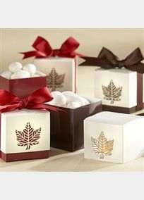 When only casual elegance will do, you'll find exactly what you're looking for in this smartly crafted, two-toned favor box with striking accents that convey the essence of autumn. The laser-cut leaves on sides of the cream-colored favor box top enhance the classic design, putting your fall event a step closer to perfection. Just fill with your favorite chocolate or candy treat! David's Bridal Style 28075