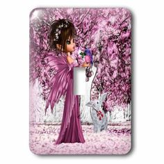 3dRose Pink Woodland Fairy Enchanted Forest with a Snow White Bunny, Double Toggle Switch